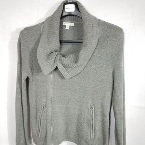 New York And Co. Gray Full Zip Knit Sweater Sz M